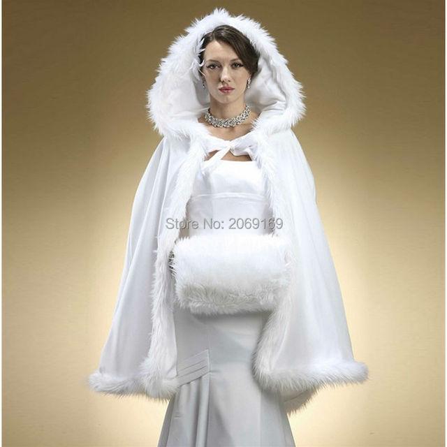 2017 Inverno de Noiva envoltório Encapuçado com Guarnição da Pele Do Falso Curto para a Noiva do Casamento Do Inverno Manto Do Cabo branco da pele do falso xale
