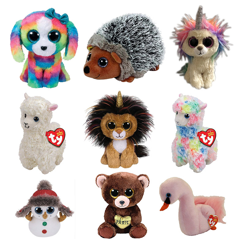 15CM Hot Sale Ty Beanie Boos Big Eyes Lola the Dog Lion Bear Unicorn Bat Alpaca Plush Toy Doll Stuffed Animal Cute Plush Kid Toy