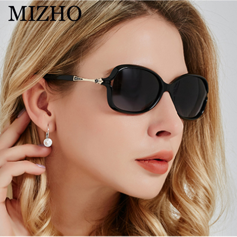 MIZHO 2019 BLACK Plastic Polaroid Small Sunglasses Ladies Brand Design Sexy Crystal Vintage Tiny Sun Glasses For Women Polarized