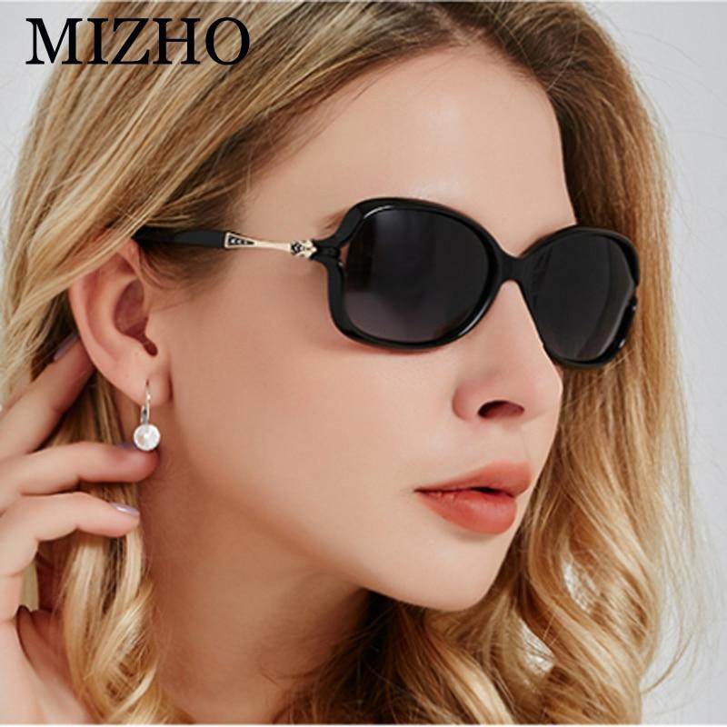 Солнцезащитные очки MIZHO поляризационные женские, небольшие винтажные пикантные солнечные очки с кристаллами и пластиком, чёрные, 2020