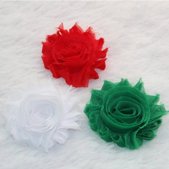 """Red White Green Free shipping 2.5"""" Chic Shabby Frayed Flower 60pcs/lot Children Hair Accessories DIY Headbands Wholesale"""
