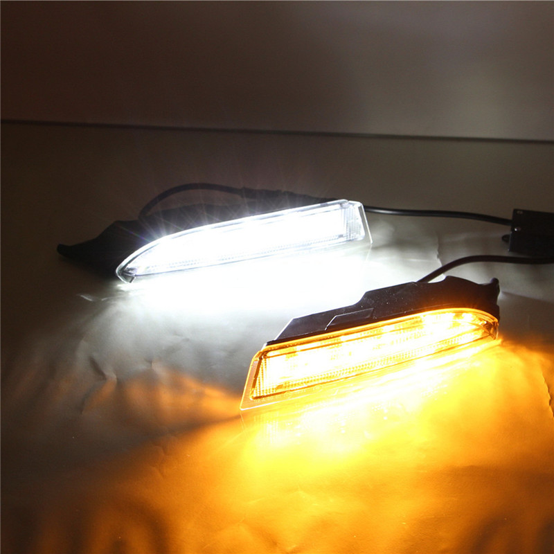 1Set Car Accessories Daytime Running Lights with Yellow Turn Signals Auto Led DRL For Volkswagen VW Scirocco 2010 2012 2013 2014 for vw volkswagen polo mk5 6r hatchback 2010 2015 car rear lights covers led drl turn signals brake reverse tail decoration