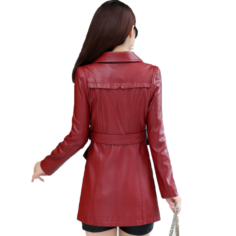 La Long Mode Double army rouge Veste wine Femmes Cuir Red Green Dames 2018 En Breasted Nouvelle Femme Noir De Zipper Taille Slim Vêtements Manteau Plus Pu 4xl U07nwdBq