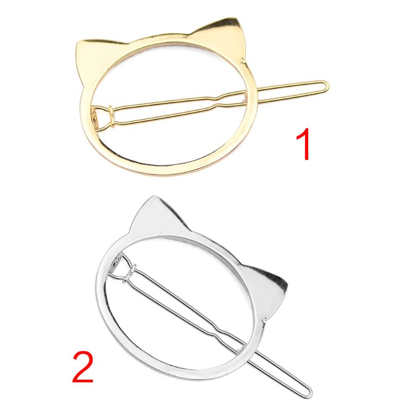 Minimalist Style Women Girls Cute Meow Cat Hair Clips Hollow Out Geometric Metal Alloy Buckle Hairpins Animal Shaped Barrettes