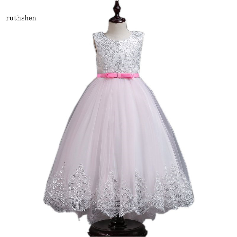 ruthshen 2018 New Princess   Flower     Girl     Dress   Sleeveless Colorful Wedding   Girl   Holy Communion   Dresses   For   Girls   Holiness   Dresses