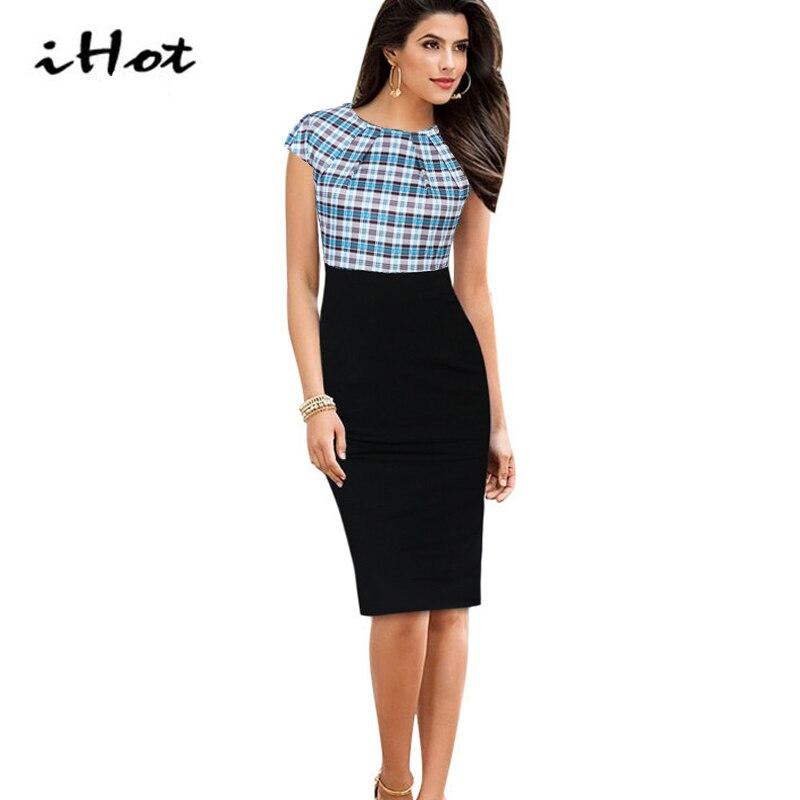 Pencil Dress Office Womens Elegant Flower font b Tartan b font Plaid print Cap Sleeve High