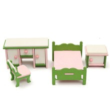 Hot Sale DIY Handmade Doll House Miniature Bedroom Wooden Furniture Set Gifts For Children Kids Role Pretend Playing Toy(China)