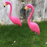 3 x Handcraft Plastic Flamingo Lawn Figurine Statue Grassland Ornament for Holiday/Wedding Party Home Garden Landscape Decor