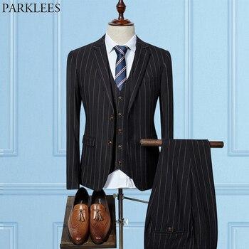 a142219baca21 Lüks Pinstripe Resmi Iş 3 pcs Erkekler Siyah Takım Elbise (Ceket + Pantolon  + Yelek) slim Fit Tek Göğüslü Yüksek-end Terbiyeli Erkekler için Takım  Elbise