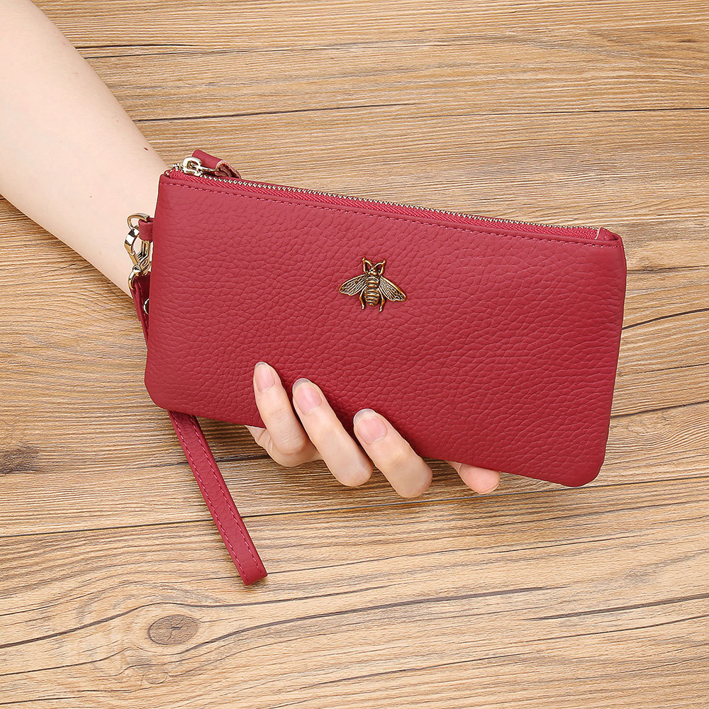 Women Wallets Red Card Wallet Mini Thin Cute Portfel Day Clutches Small Purses Cow Leather Texture Carteras Lady Zipper Long