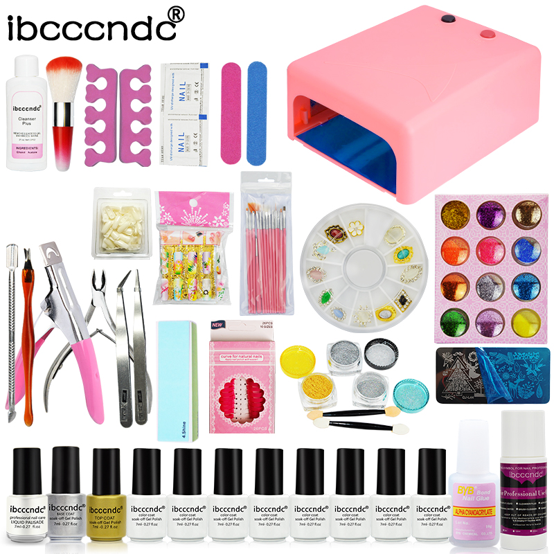 Ibcccndc Nail Art Set 36W UV Lamp 8 Color 7ml Nail Gel Base Top Coat Polish Remover Manicure Tools Nail Tips Mirror Powder Kit nail art manicure tools set uv lamp 10 bottle soak off gel nail base gel top coat polish nail art manicure sets