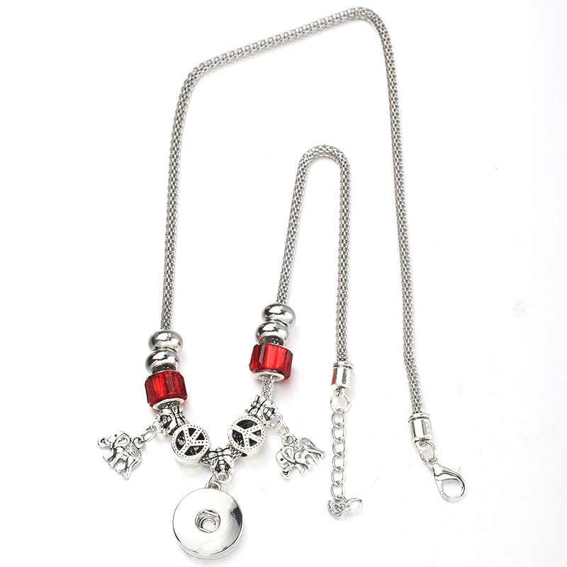 6 Kinds Snap Button Elephant Necklace Bracelet Set Silver Bead Pendant Hollow Chain Beaded Bracelet Fit 18mm Snap Fine Jewelry