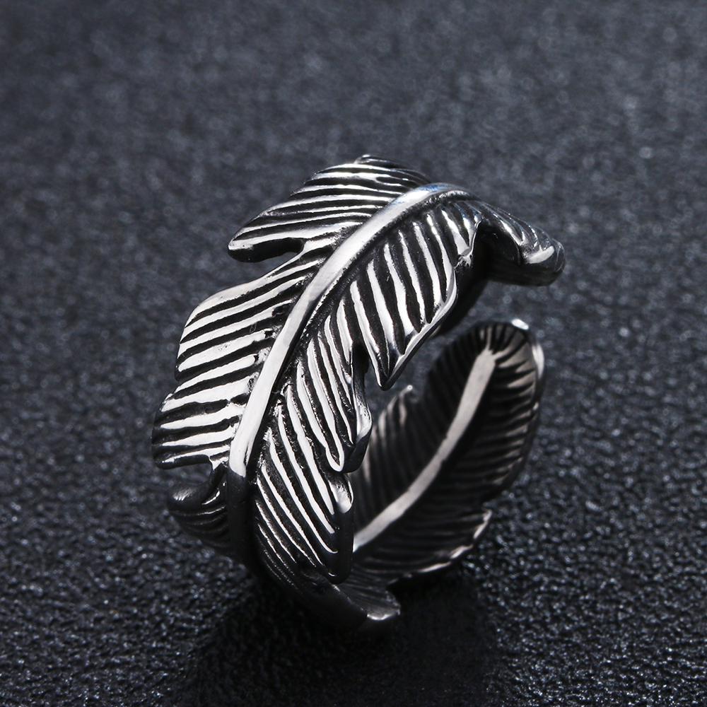 Punk Wide Feather Leaf Ring 316L Stainless Steel Silver Plated Jewelry For Party Male Gifts