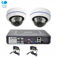 4CH DVR CCTV System 2PCS Cameras 2MP 180 Degree 1.7mm Lens Dome Camera 1080P AHD CCTV DVR Surveillance Kit