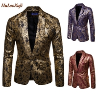 HuLooXuJi Men Nightclub Suits Gold Printed Blazer Jacket Wedding Party Dress Men Stage Clothes For Singers US Size:M 3XL