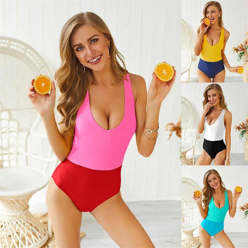 2019 traje de baño de verano de una pieza para mujer de cintura alta Bikini Patchwork sin espalda vendaje traje de baño mono de baño