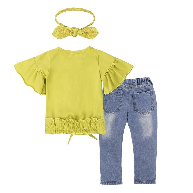 Children Sets for Girls Fashion 19 New Style Girls Suits for Children Girls T-shirt + Pants + Headband 3pcs. Suit ST307 5
