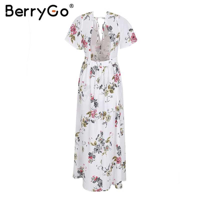 BerryGo Сексуальная спинки печати брючный костюм-комбинезон в полоску V образным вырезом шифон для женщин короткие комбинезоны для девочек талии галстук летние пляжные