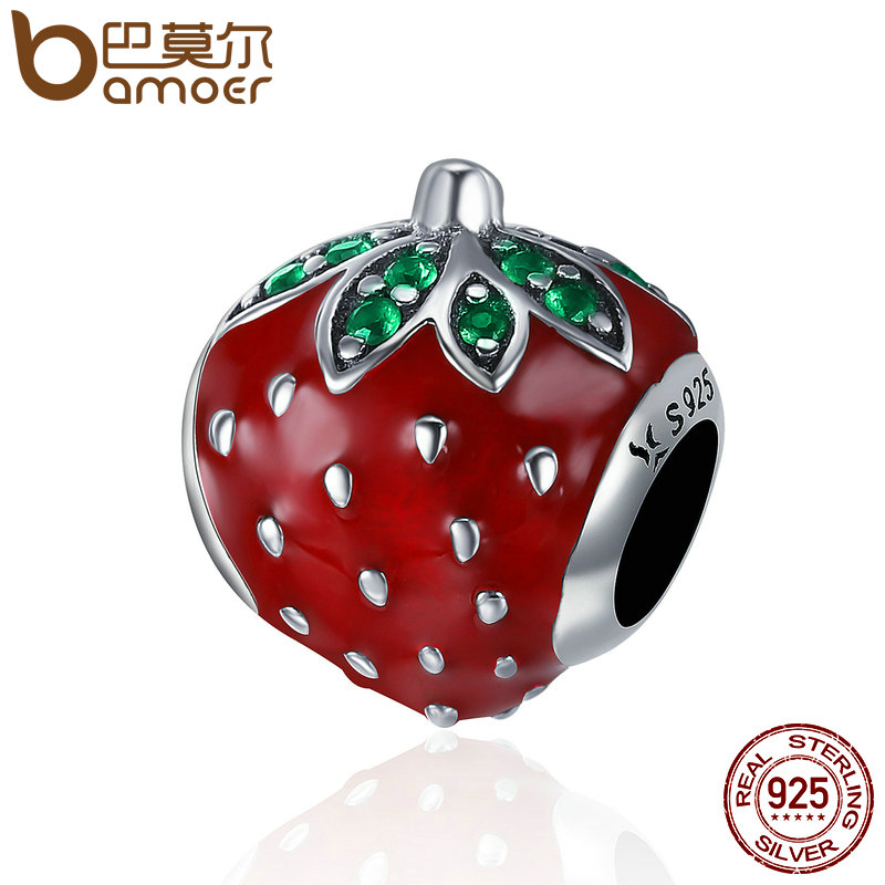 BAMOER Authentic 925 Sterling Silver Sweet Strawberry Red Enamel Charm fit Women Charm Bracelets & Bangles Fine Jewelry SCC369