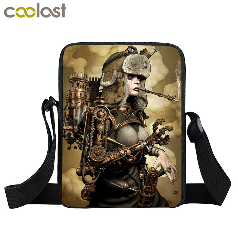 Steampunk Mini Messenger Bag Young Men Women Punk Daily Bag Rottweiler Dog Crossbody Bags For Ladies Bags Bolsos Carteras Mujer young men mini messenger bag mario sonic boom crossbody bag boys school bags kids book bags for snacks schoolbags best gift