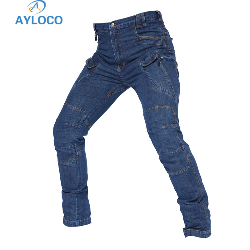 Mens Tactical Jeans Pants Men SWAT Combat Male Work Trouser Mens Casual Urban Military Tactical Blue Denim Jeans
