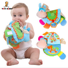 0-12 Month Baby Rattles Teether Cloth Book Toys Cute Donkey Animal Toddlers Learning early Education Squishy Horse Xmas Gift(China)
