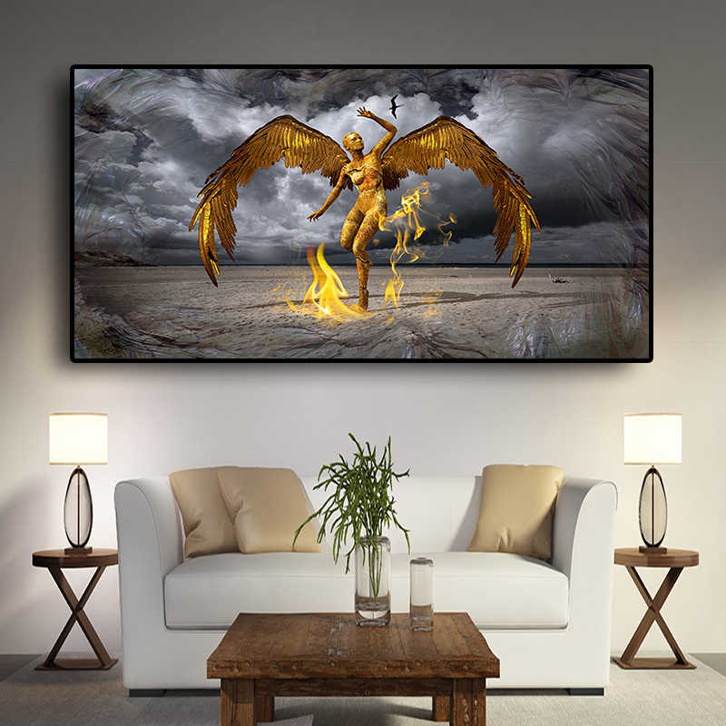 Guardian Angel of Leo Miguel Portrait Canvas Painting Scandinavia Posters and Prints Cuadros Wall Art Pictures For Living Room