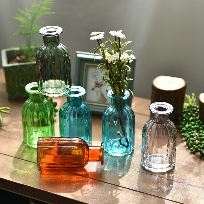 Colorful Glass multicolor Vase floret bottle <font><b>flower</b></font> arrangement hydroponic plant Garden Home decoration