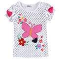 Ropa de las muchachas muchachas camisetas nova embroma la ropa ocasional del o-cuello del verano camisas ropa de los niños del bordado camisetas para niñas k4028