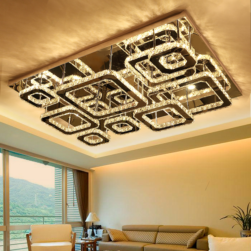 IWHD Modern ceiling Lamps Tricolor dimming LED Ceiling Lighting Fixtures Plafonnier Bedroom K9 Crystal Lampara DeTecho