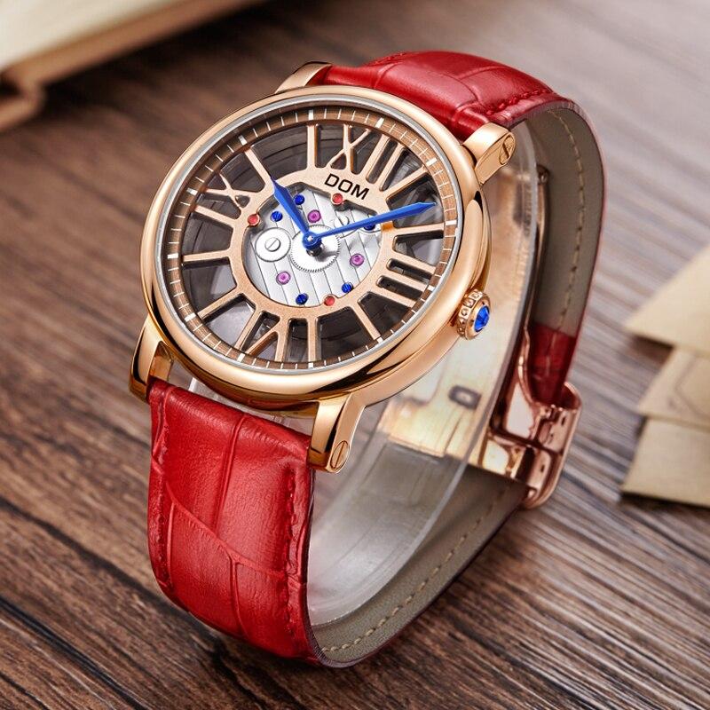 Relojes de marca de lujo DOM estilo impermeable cuero oro esqueleto cuarzo reloj mujeres G 1031-in Relojes de mujer from Relojes de pulsera    3