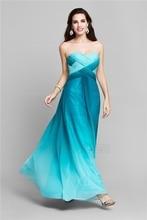 Gradually Dark Blue Chiffon High Low Prom Dresses 2016 Vestidos De Festa Vestido Longo Tiered Ombre Bridesmaid Dress