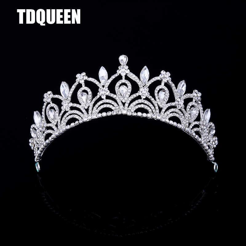 TDQUEEN большие диадемы для свадебной вечеринки роскошный каплевидный кристалл горный хрусталь Модный дизайн принцесса аксессуары для ухода за волосами Корона