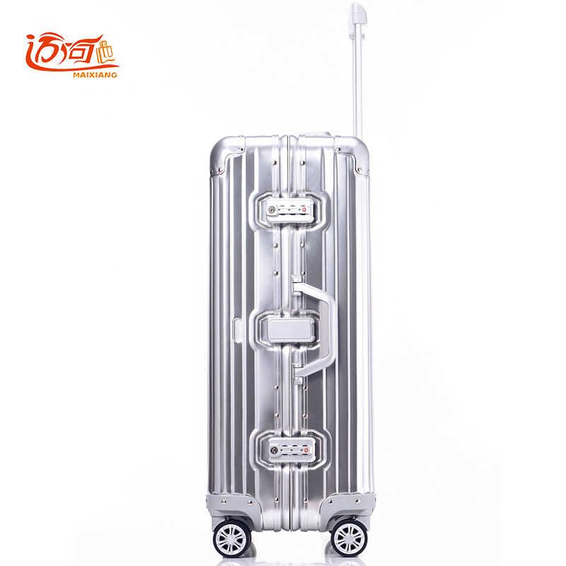 ... 100% полностью Алюминий-магниевого сплава путешествия багаж 20 25  дюймовый Женский Мужской чемодан ... 8e8be7d5942