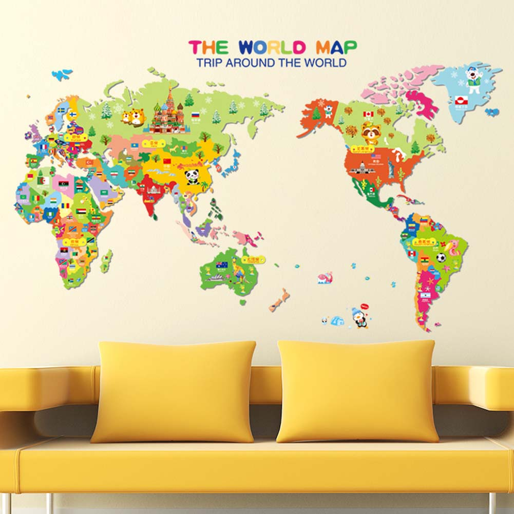 Removable Animal World Map Wall Sticker Vinyl Decal Art Mural Home ...