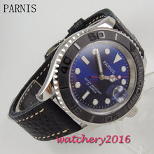 41mm Parnis blue dial ceramic bezel stainless steel sapphire glass date adjust 21 jewels miyota Automatic