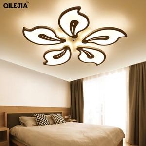 Image 4 - אקריליק מודרני תקרת אורות למיטה בסלון חדר לבן צבוע Plafond led תקרת מנורת שלט רחוק תאורת גופי