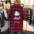 MissLymi Plus Size Women Shirt 2017 Spring Harajuku style Loose Lattice Cartoon Mouse Printing Single-Breasted Long Sleeve Red