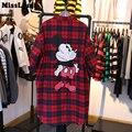 MissLymi Tallas grandes Mujeres Camiseta 2017 Primavera Harajuku estilo Flojo Del Enrejado de Ratón de Dibujos Animados de Impresión de Manga Larga de Un Solo Pecho Rojo