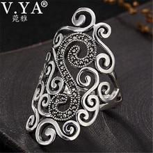V.YA Retro 925 Sterling Silver Adjustable Rings for Women Letter S Femme Female Ring Marcasite Jewelry
