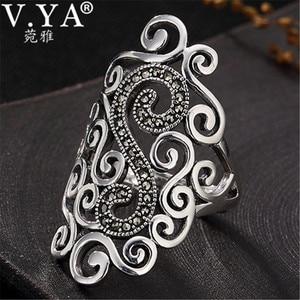 Image 1 - V. ya retro 925 prata esterlina anéis ajustáveis para mulher letra s femme feminino anel marcasite jóias