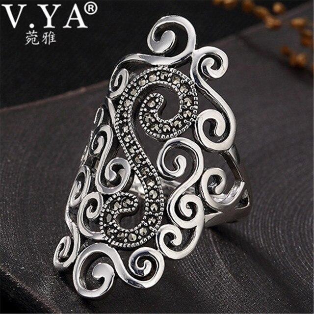 V. ya retro 925 prata esterlina anéis ajustáveis para mulher letra s femme feminino anel marcasite jóias