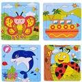3D De Madeira Jigsaw Puzzles Brinquedos Animal Dos Desenhos Animados Para Crianças Dos Desenhos Animados de Aprendizagem Educação Brinquedos 15*15 CM