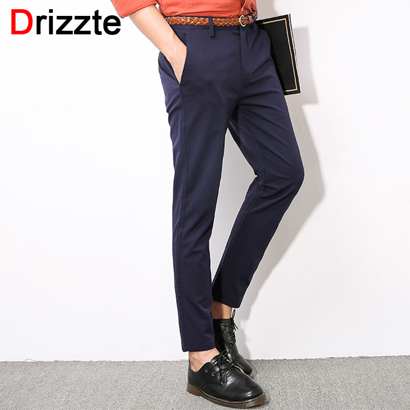 3c1118702c1d Drizzte Mens Stretch Ankle Length Dress Pants for Work Trousers Black Blue  Grey Size 28 29 30 31 32 33 34 36 38-in Skinny Pants from Men's Clothing &  ...