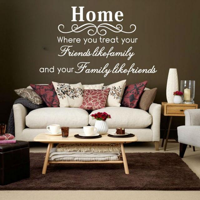 Home Friends Like Family Home Decor Creative Quotes Wall Decal 8049  Decorative Adesivo De Parede Vinyl