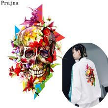 Prajna Mexican Skull Jacket Patches Iris Ghost Head Ironing On Transfers For T-shirt Geometric Sticker On Clothing Appliques(China)