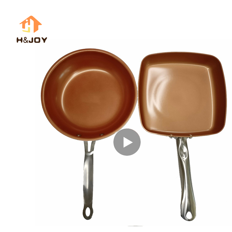 Non-stick Copper Frying Pan Dishwasher Square Ceramic Skillet With Ceramic Coating Saucepan Copper Pan Ceramica Cookware Set