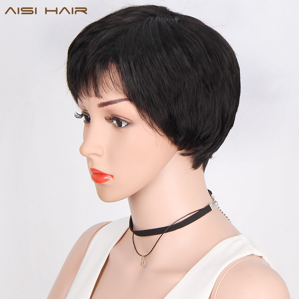 AISI HAIR Natural Short Straight Wig Pixie Cut Synthetic Wigs for Women Black Hairs Heat Resistant Hair