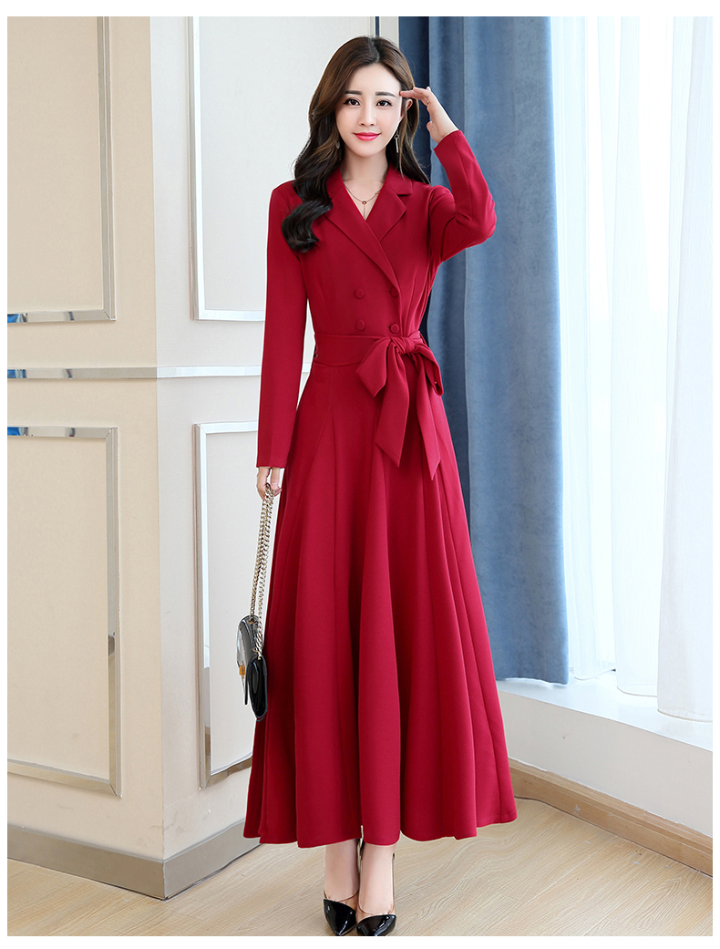 Spring and Autumn 2019 New Women's Dresses Korean Edition Long Sleeve Dresses Overlap Long Popular Temperament with Bottom 127