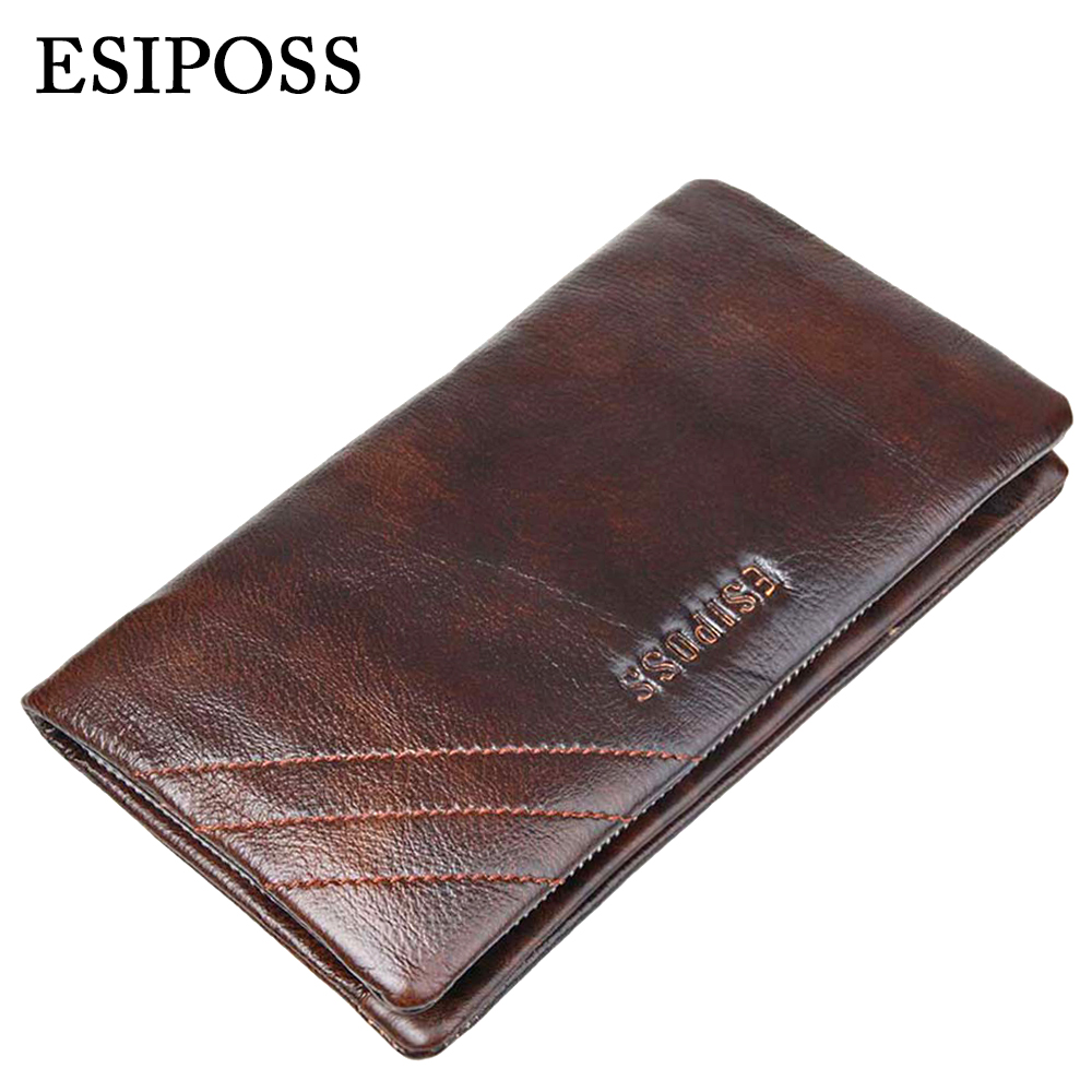 Luxury Brand Top Genuine Cowhide Leather Men Wallet High Quality Long Card Holder Coin Purse Vintage Designer Male Wallet Clutch high quality men genuine leather organizer wallet vintage cowhide clasp card holder coin purse vintage carteira masculina 1011